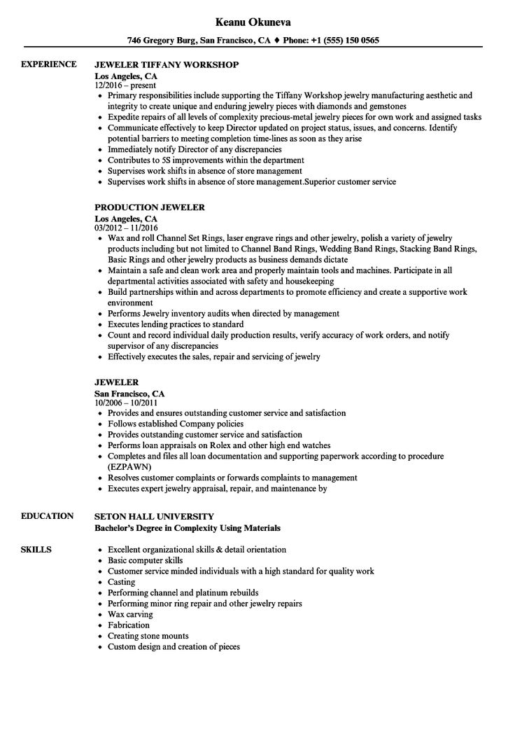 Jeweler Resume in 2020 Jewelry sales, Job resume samples