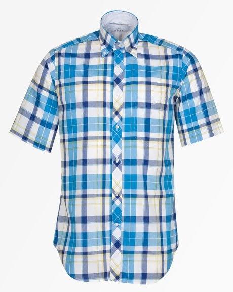 Kısa Kollu Mavi Kareli Gömlek / Blue Checked Short Sleeve Shirt http://www.bisse.com/p-612-yaka-dmel-mav-karel-kisa-kollu-gmlek.aspx