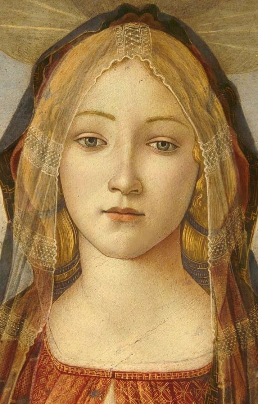 The Virgin and child with Saint John and an angel (1490) Sandro Botticelli detail