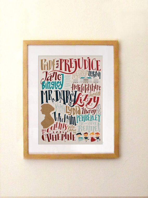 Jane Austen  Pride and Prejudice print  by PemberleyPond on Etsy, €15.00