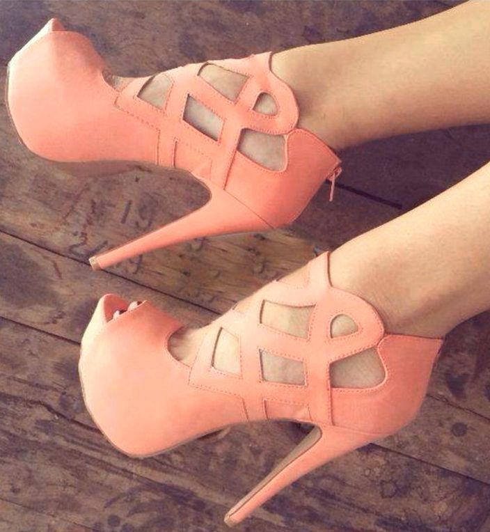 Coral colored high heels :)