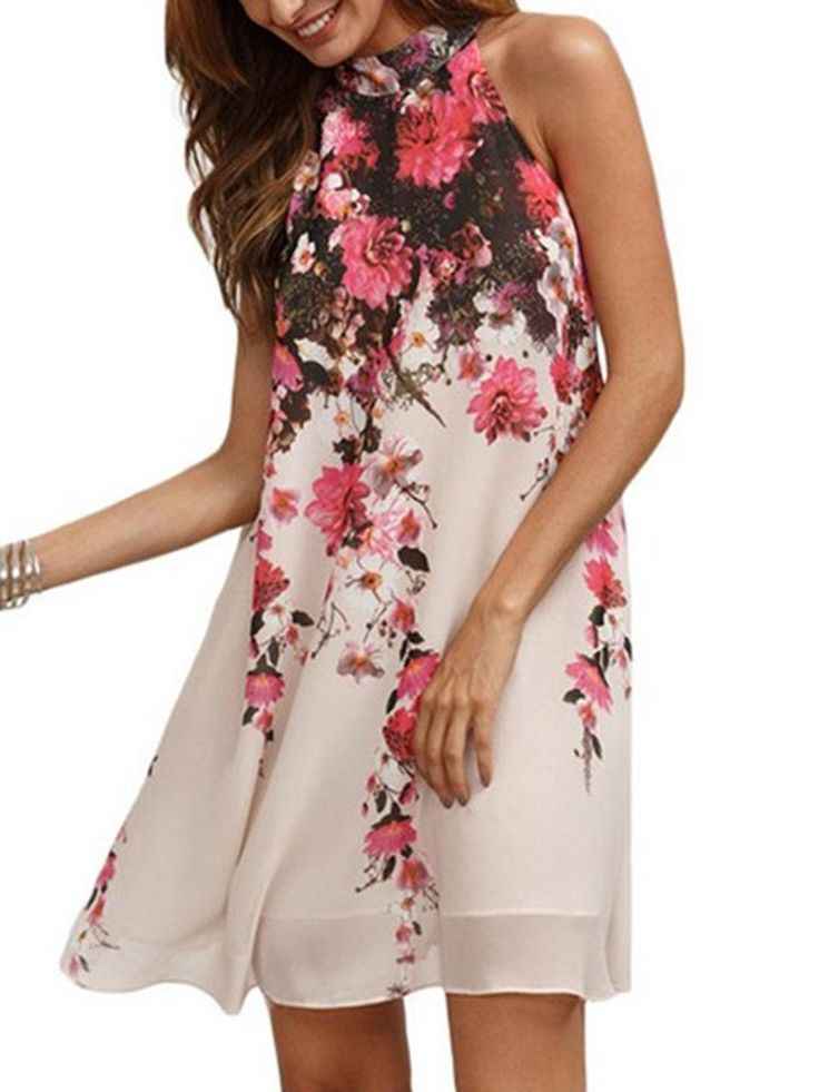 #AdoreWe #Fashionmia Fashionmia Open Shoulder  Floral Hollow Out Printed Exquisite Shift Dress - AdoreWe.com