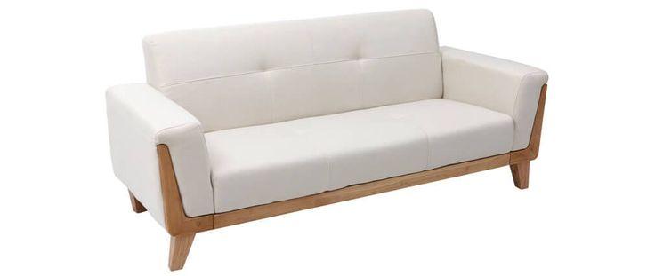 Divano design 3 posti bianco piedi in legno FJORD