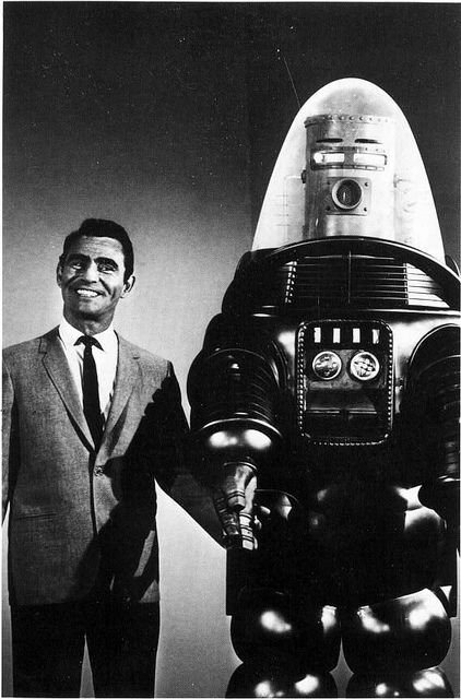 """Twilight Zone - Rod Sterling and Robbie the Robot (of """"Forbidden Planet"""" fame)."""