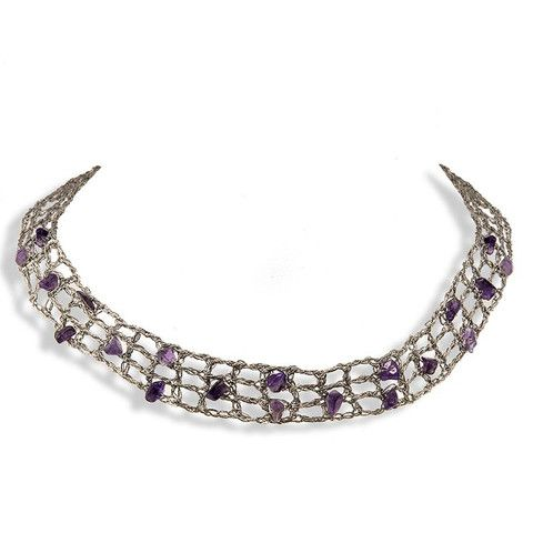Handmade Silver Choker Necklace with Amethyst Stones
