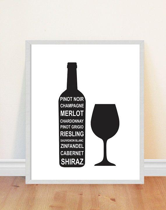 Wine list print wine types wine bottle silhouettes art print wine glass