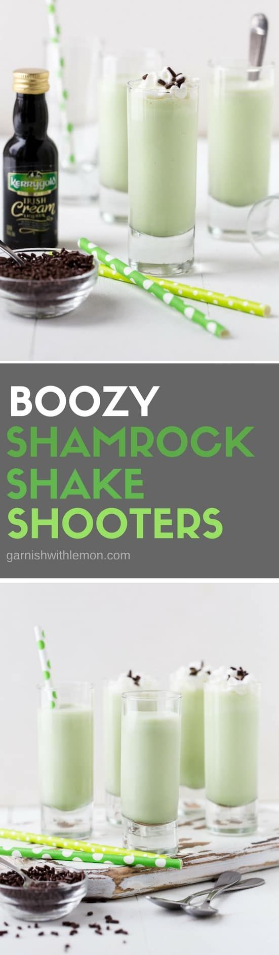 Say Cheers to a round of these 3-ingredient Boozy Shamrock Shake Shooters at your next party!