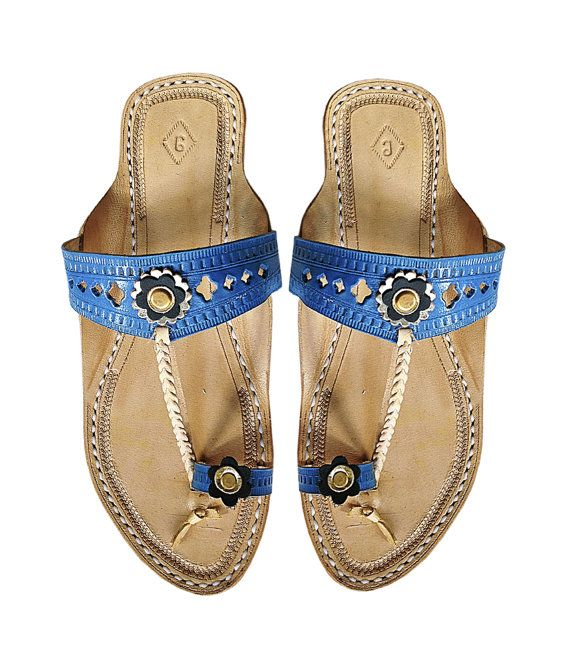 Blue Upper Ladies Leather Sandal DLC-W-023