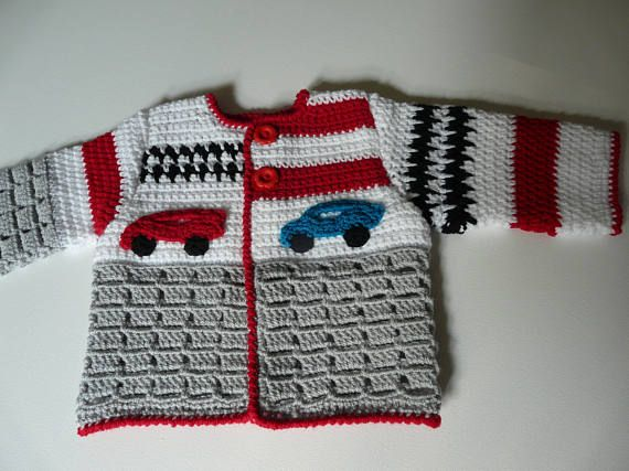 English Dutch Crochet Pattern Baby Cardigan Grand Prix 0