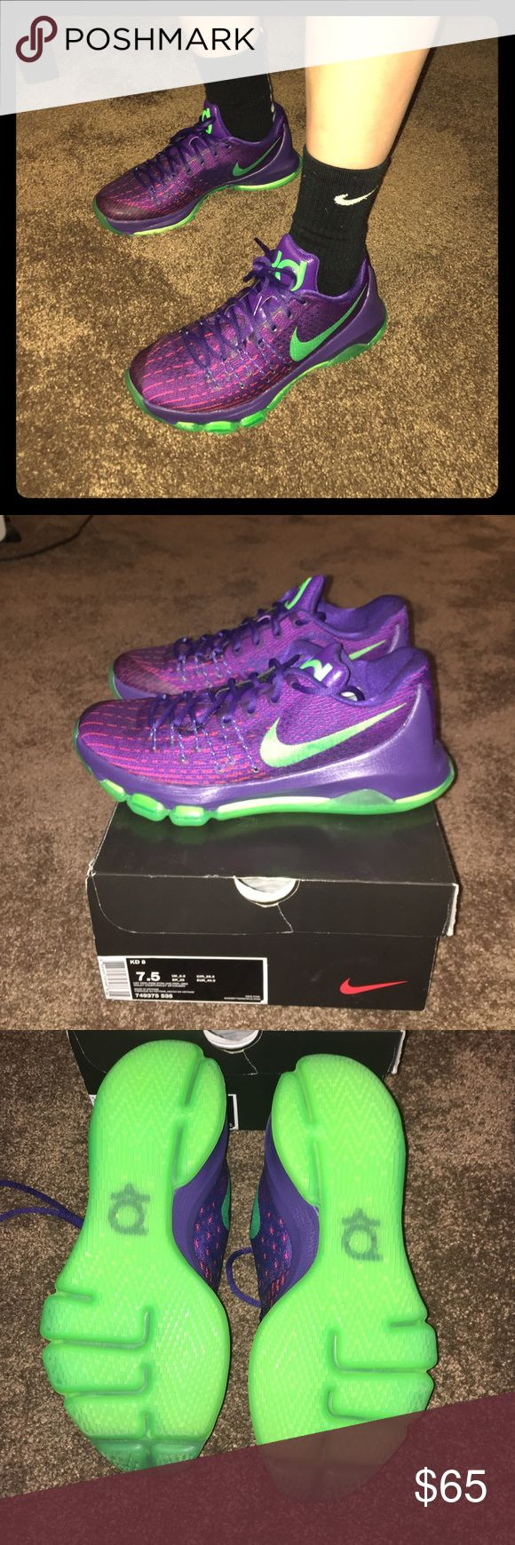 Nike kd's basketball shoes Their in great shape! Worn only a few times! Still smells new. Shoes run a bit small but if your a Women size 8.5 they'll fit perfect! Or men's 7.5 men's 7 would fit too. Men's 7 would fit a bit better in these. Nike Shoes Athletic Shoes