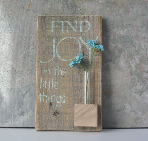 Wall Vase, Rustic, small test tube vase, word art, recycled aged wood, OOAK, natural