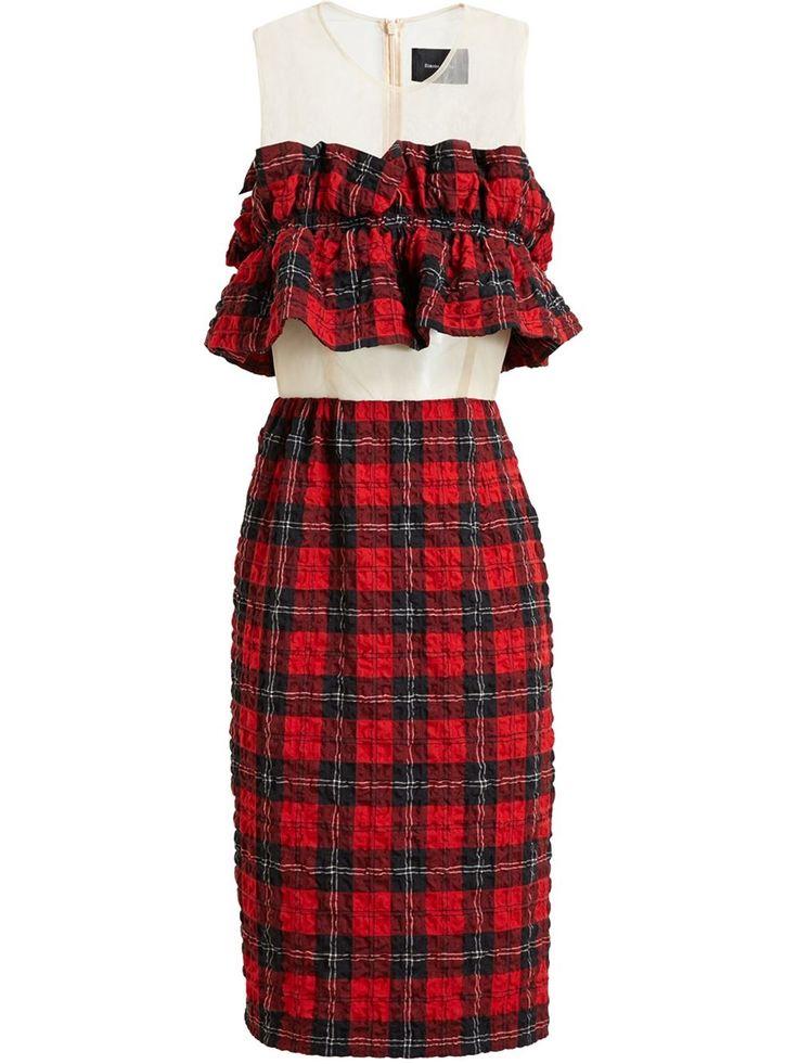 Simone Rocha Ruffle Bandeau Tartan Dress - Browns - Farfetch.com