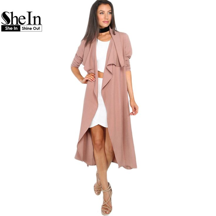 SheIn Herfst Womens Nieuwe Mode Koffie Revers Lange Mouw Trenchcoat Dames Open Front Tie Taille Casual Lange Bovenkleding Jassen