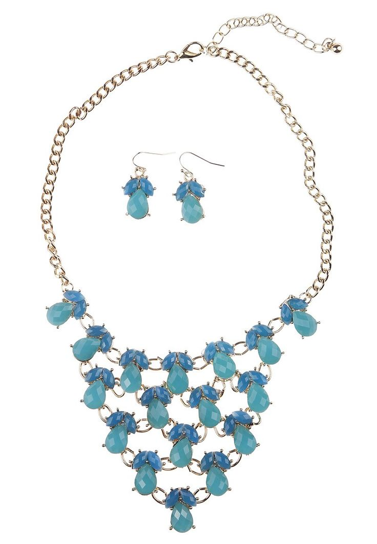 Cyan Blue Irregular Artificial Stone Mini Faceted Bubble Marquee Bib Statement Alloy Earrings with Necklace