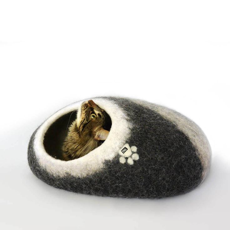 oval felt cat bed- cat cave black with white by wooppers with cat