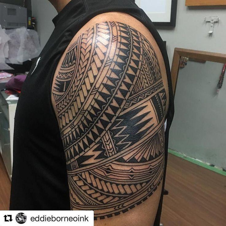 #Repost @eddieborneoink with @repostapp  Polymix sleeve on Mr Patrick Lewandowski all the way from NC .Thks buddy! #eagleviewtattooproducts #tattoocloud #skinartmag #tattoodo #iwasborneoinked #tribaltattoo #tribalkulture #tribaltattooers #polynesiantattoo