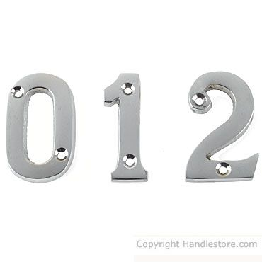 "2"" door numbers in chrome polished"