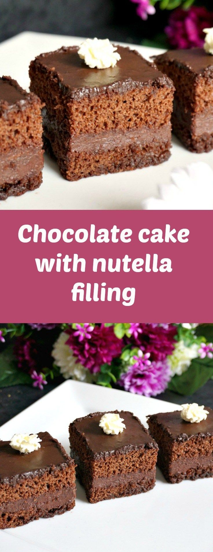 Chocolate cake with nutella filling, chocolate ganache glaze and whipped cream, or the Romanian Amandine, a fabulous dessert that tastes like heaven.