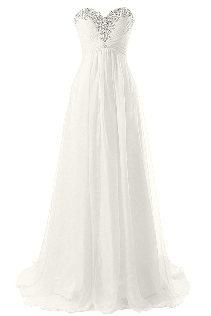 JAEDEN Strapless Beach Wedding Dresses Simple Bride Dress Chiffon Gown -- Discover this special product, click the image : Wedding Dresses