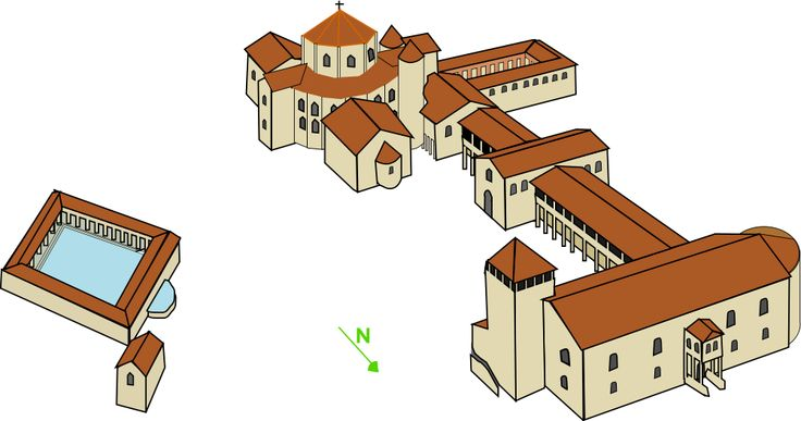 possible reconstruction of what Charlemagne's Palace at Aachen, Germany would have looked like circa 800