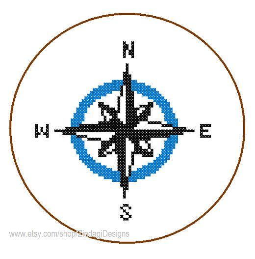 Instant Télécharger nautique boussole Cross Stitch Pattern mur bleu art carte nautique grand cadeau