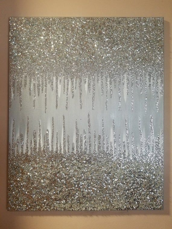 Silver Abstract Glitter Art 24x30 Etsy Glitter Wall Art Glitter Art Glitter Paint For Walls