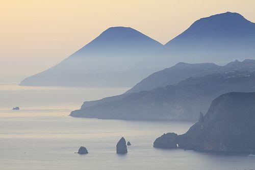 Lipari province of messina region of sicily i Faraglioni near  Capri , Campania region Italy