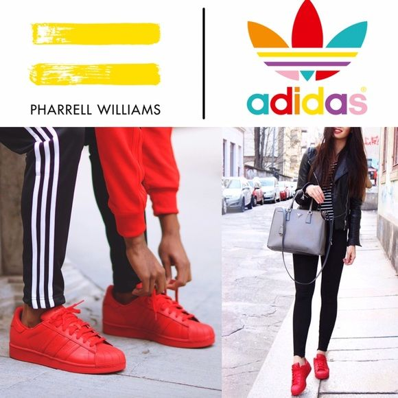 RARE SOLD OUT ADIDAS SUPERSTAR PHARRELL RED In amazing condition - these sold…