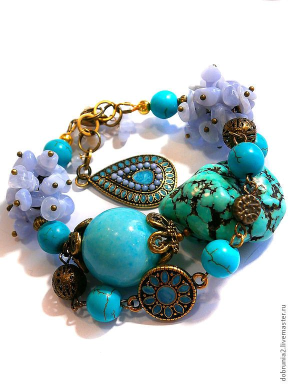 """Купить Браслет """"Фирюза"""" - тёмно-бирюзовый, бирюза, голубой агат, браслет, серьги, кольцо, колье"""