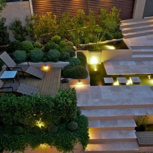 angled steps, planting pockets, lighting...