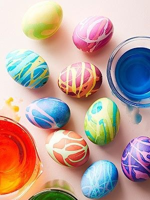 "Easter eggs ""Use Easter egg dye to make different colors of rubber cement. Drizzle rubber cement over your eggs, let dry, then dunk eggs in dye colors. Super easy, super messy, lay down some newspaper before hand!"""