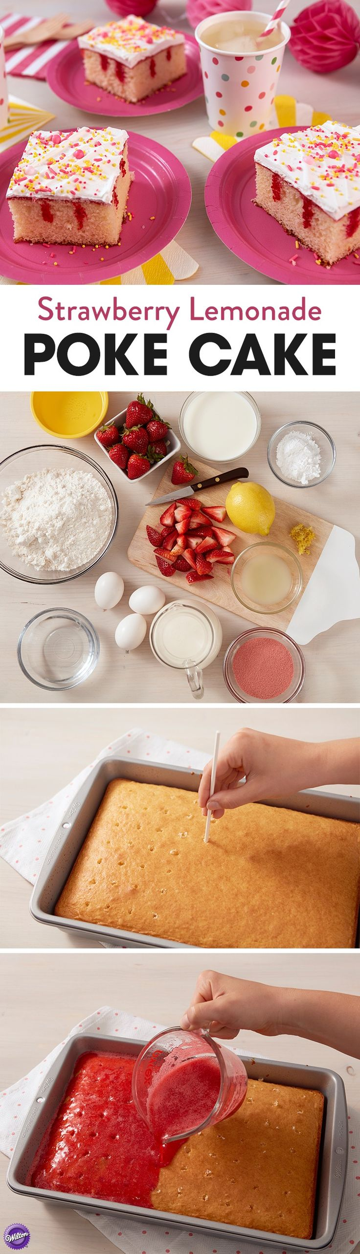 Celebrate summer with this delicious Strawberry Lemonade Poke Cake. Made by poking holes in the cake and then covering the cake with a sweet gelatin mixture, this cake is light and refreshing, and looks beautiful when cut open! An easy treat to make for the 4th of July or a summer birthday celebration, this cake is bursting with sweet strawberry and lemon flavor.