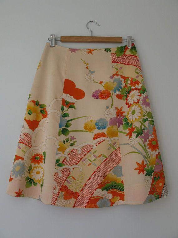 Japanese vintage kimono skirt size S Bold Flowers print ready to ship