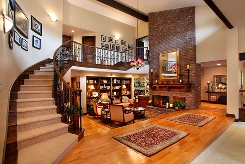 Love the open staircase and balcony open to living room for Amazing mansions inside