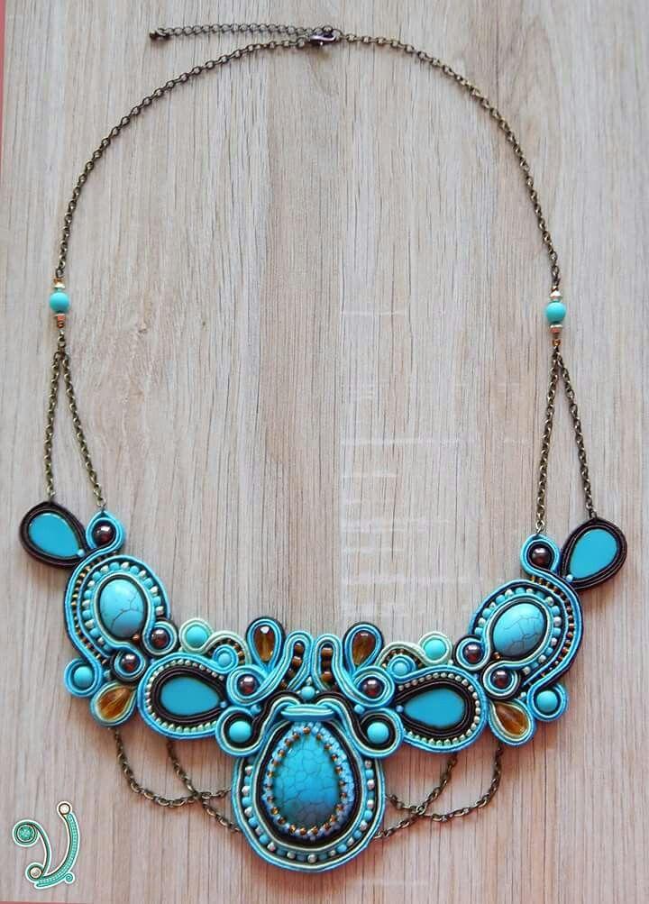 Turquise soutache necklace