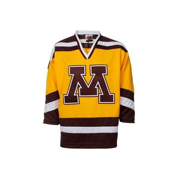 0661c33c8 Minnesota Golden Gophers Gold Tackle Twill College Hockey Jersey ( 80) ❤  liked on Polyvore featuring jersey