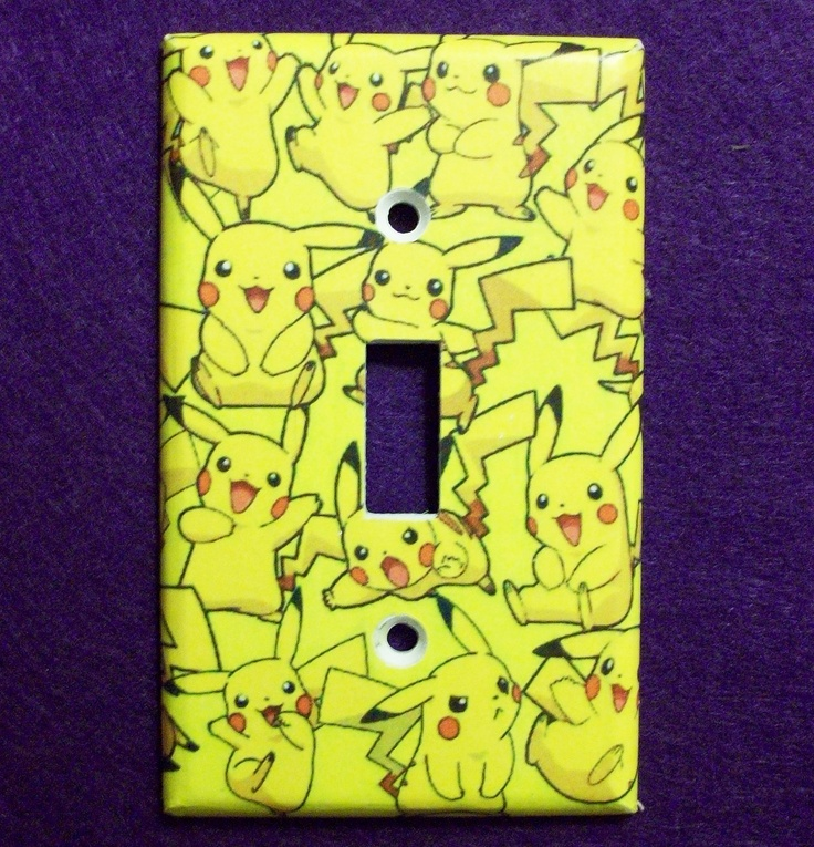 Pikachu Pokemon Yellow Light Switch Cover - Switchplate - Switch Plate Cover. $6.00, via Etsy.