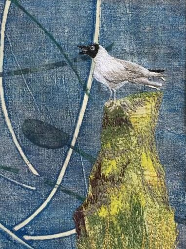 Calling Bird, print, applique, free-machine embroidery by Carly Gilliatt