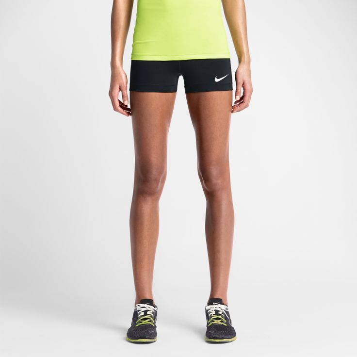 """Nike Pro 3"""" - COMFORT, SUPPORT AND EXTRA-SHORT LENGTH The Nike Pro 3"""" Women's Training Shortsare made with sweat-wicking stretch fabric for a comfortable fit and locked-in feel during intense competition. A lined gusset and ergonomic seams offer enhanced range of motion at practice and under the game-day uniform. Style Tip This style is made from lightweight fabric for excellent breathability and is designed to be worn as a first layer. It can be worn alone, but we recommend yo..."""