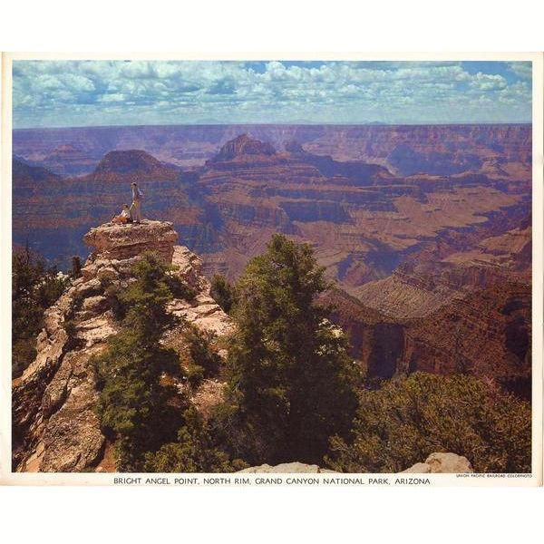 Vintage 1950's Grand Canyon Arizona Union Pacific Railroad Colorphoto Print