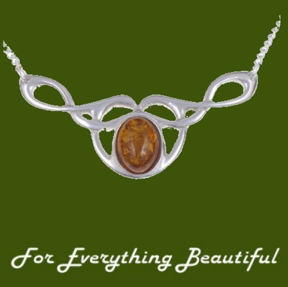 Celtic Bird Knotwork Amber Design Stylish Pewter Necklace