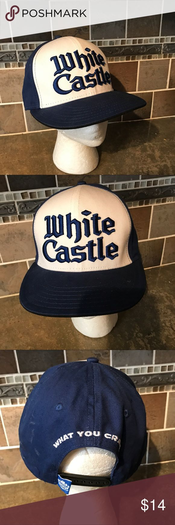 White Castle hamburgers burger snap back hat A1480 White Castle snap back hat white blue, gently used condition with no holes or rips, bright color, snap back, 1 day handling, 30 day returns, thank you white castle Accessories Hats