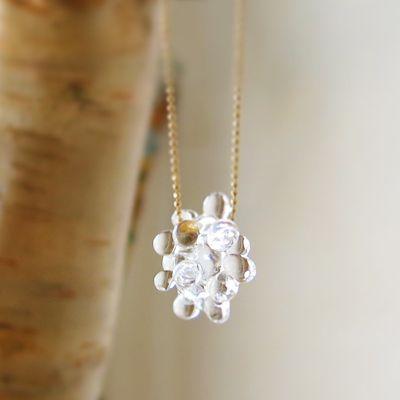 大人のためのアクセサリー Perlesクリスタルのお花がかわいいネックレス ※メール便対応可能商品。クリスタルフラワー ガラスのネックレス