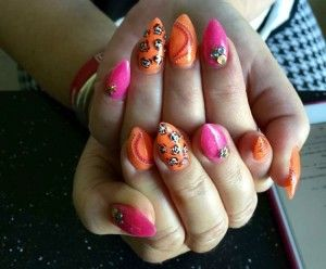 Neon pink and neon orange Acrylic nails