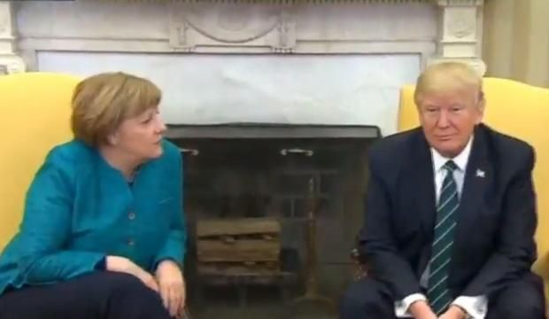 """3/17/2017 - President Trump refuses to shake Angela Merkel's hand. Reporters ask them to shake hands, Merkel asks """"Do you want to have a handshake?"""", Trump just sits there, Merkel looks around awkwardly."""