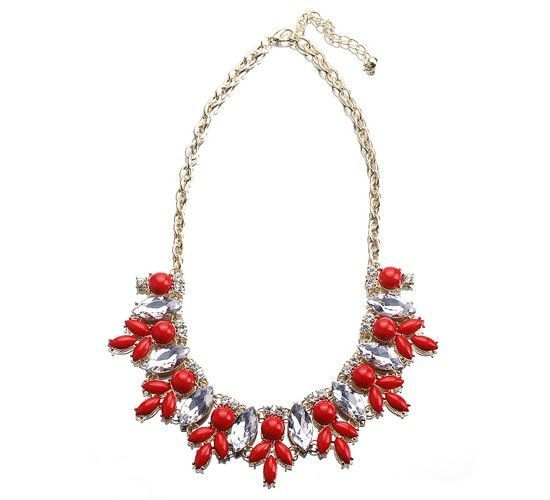 Red Bubble Resin Crystal Bead Ball Bib Statement Chic For Lady Necklace