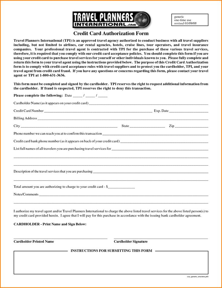 Generic Credit Card Authorization Form Letter Pdf Fillable For
