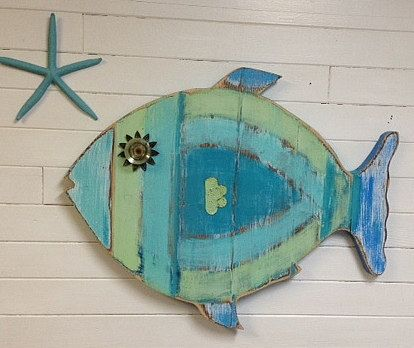 Fish Wall Art Sign Beach House Sea Glass Colours Decor by CastawaysHall - Ready to Ship    This round weathered wood fish is so cool in all the