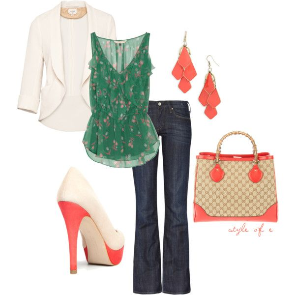 Love the color combinationBlouses 250, Fashion, Green, Outfit, Colors Combinations, Coral Pop, Color Combinations, Style Pinboard, Rebecca Taylor