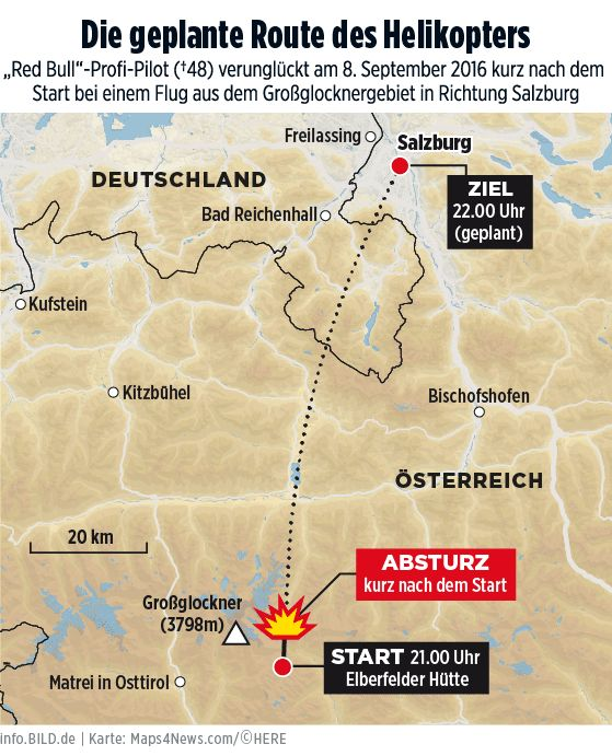 Karte: Die geplante Helikopter-Route des Red-Bull-Piloten - BILD Infografik